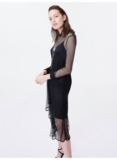 Twist Çift Parça Görünüm Elbise Siyah
